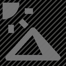 pyramid, sun icon