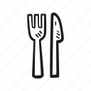 dinner, food, fork, knife, restaurant icon