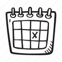 calendar, date, day, event, marked, on, schedule icon