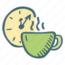 break, clock, coffee, schedule, tea, time icon