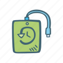 backup, file, harddrive, hdd, sdd, time icon icon