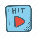 hit, play, play button, player icon