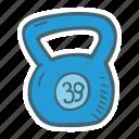 equipment, fitness, gym, kettlebell, sport icon