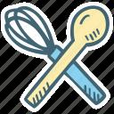 kitchen, restaurant, spoon, whisk icon