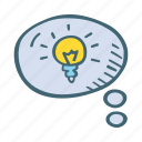 bubble, bulb, idea, message, new, think icon