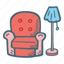 armchair, chair, furniture, households icon