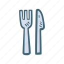 dinner, food, fork, gastronomy, knife, restaurant icon