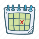 calendar, date, day, event, marked, on, schedule