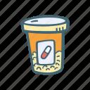 bottle, drugs, health, healthcare, pills, prescription icon