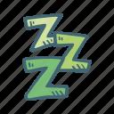 bedroom, sleep, zzz, bed, night icon