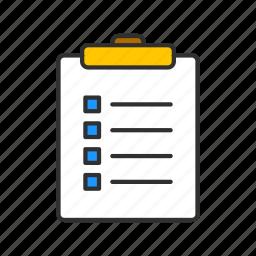checklist, clip board, menu, notes icon