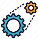 engineering, management, mechanism, processing, system icon