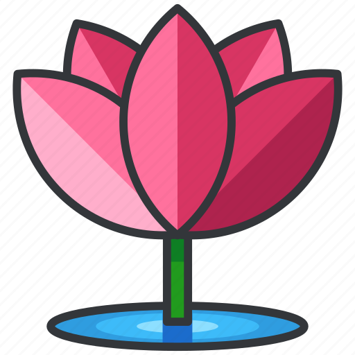 floral, flower, lotus, nature, plant icon