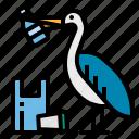 contamination, garbage, pelican, plastic, waste icon