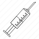 health, injection, line, needle, outline, syringe, thin icon