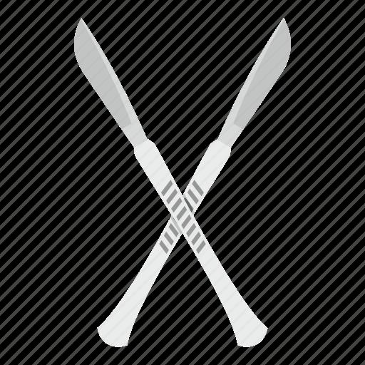 blade, crossed, instrument, medical, scalpel, sharp, tool icon