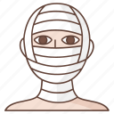 bandaged, cosmetic, face, facial, patient, reconstruction, surgery icon