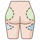 butt, buttock, cosmetic, enhancement, plastic, shaping, surgery icon