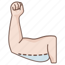 arm, fat, lift, liposuction, reduction, removal, surgery icon