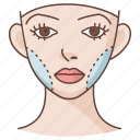 cheek, cheekbone, cosmetic, facial, plastic, reconstruction, surgery icon