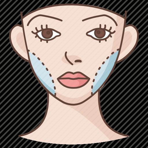 cheek, cheekbone, cosmetic, facial, plastic, reconstruction, surgery icon