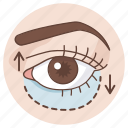 belpharoplasty, cosmetic, double, eye, eyelid, lift, surgery icon
