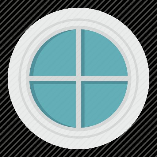 circle, frame, home, house, round, white, window icon