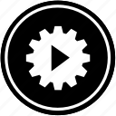 gear, play, process, settings, work icon