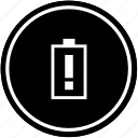 attention, battery, charge, mobile, vertical, warning icon