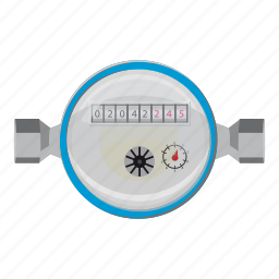 cartoon, circle, consumption, counter, device, meter, water icon