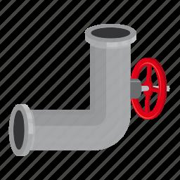 cartoon, conduit, control, engineering, piece, pipeline, valve icon