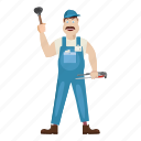 bathroom, builder, cap, cartoon, commercial, construction, plumber icon