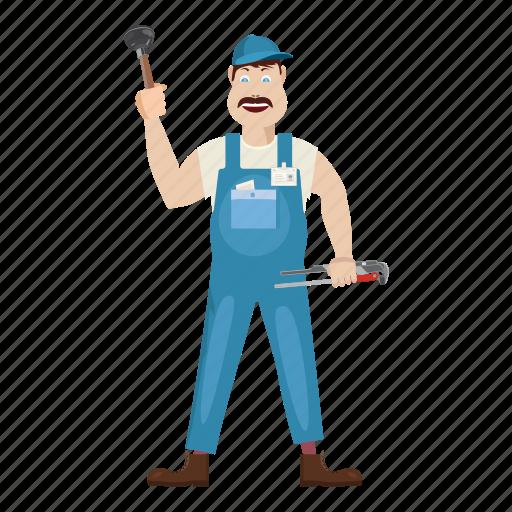 bathroom, builder, cap, cartoon, commercial, construction, plumber icon