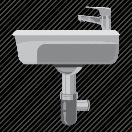 apartment, basin, bath, bathroom, bowl, cartoon, sink icon