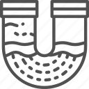 blocked, contamination, drain, mud, pipe, plumbing, water icon