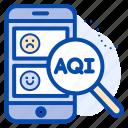 aqi, check, data, magnifying, mobile, phone, status