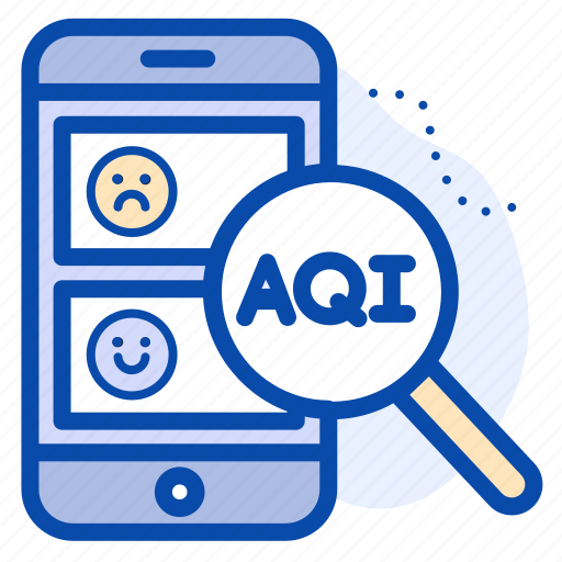 Aqi, check, data, magnifying, mobile, phone, status icon - Download on Iconfinder