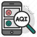 aqi, check, data, magnifying, mobile, phone, status icon