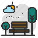 air pollution, chair, garden, outdoor, outside, park, tree icon