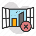 air pollution, close, open, town, window icon