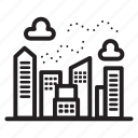 air pollution, buildings, city, downtown, town icon