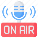 microphone, on air, broadcast, podcast, broadcasting, streaming, radio icon