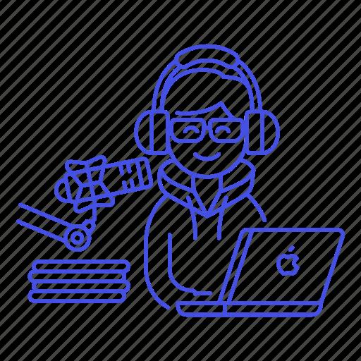 2, audio, laptop, male, podcast, podcaster, radio, recording, streamer, vlogger, voice, youtuber icon
