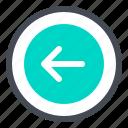 arrow, back, circled, direction, left, prev, previous