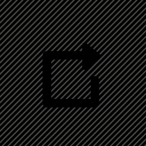 arrow, square icon