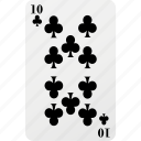 card, club, hazard, playing card, poker, ten icon