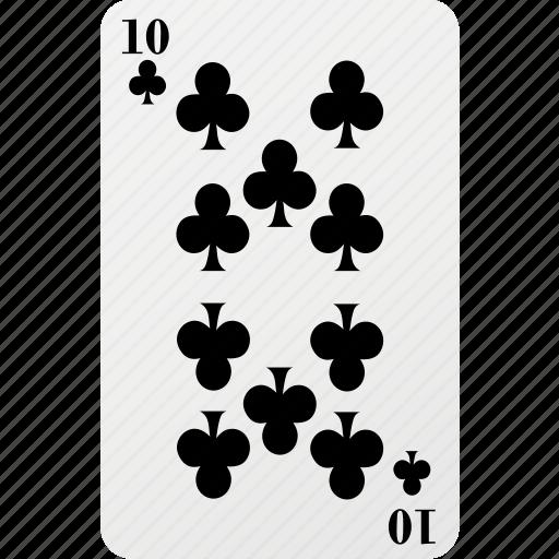 card, club, hazard, playing card, poker, ten icon