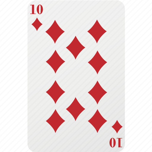 card, diamond, hazard, playing cards, poker, ten icon