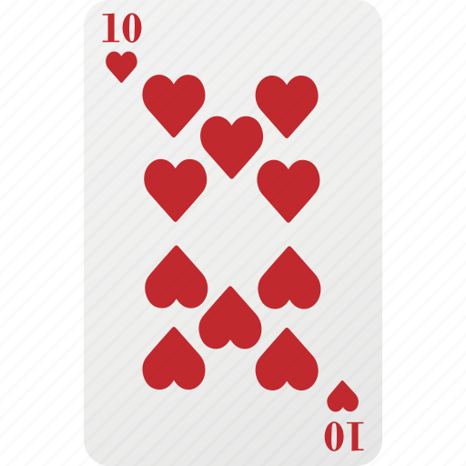 card, hazard, heart, playing card, poker, ten icon