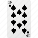 card, hazard, palying card, poker, spad, ten icon